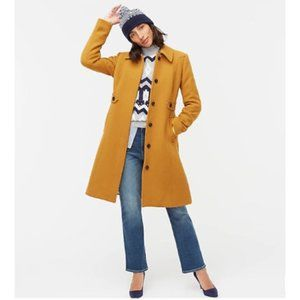 J Crew New Lady Day Coat Double Cloth Wool Amber